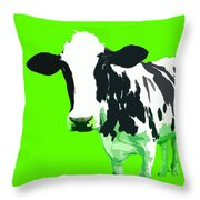 Cow In A Green World Throw Pillow