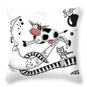Cow Jumps Over The Moon Throw Pillow