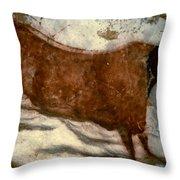Cow: Lascaux, France Throw Pillow