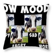 Cow Moods Throw Pillow