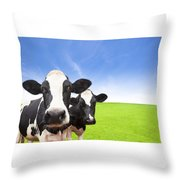 Cow On Green Grass Field Throw Pillow