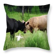 Cow Playing Head Games Throw Pillow