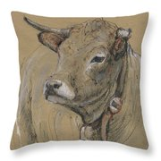 Cow Portrait Painting Throw Pillow
