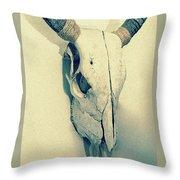 Cow Skull, Vintage Throw Pillow