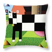 Cow Squared With Barn Big Throw Pillow