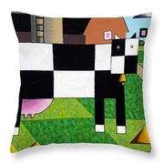 Cow Squared With Barn Left Throw Pillow