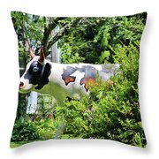 Cow Statue Throw Pillow