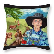 Cow Tagging Throw Pillow