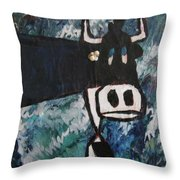 Cow With A Pearl Earring Throw Pillow