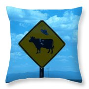 Cow With Flying Saucer Throw Pillow
