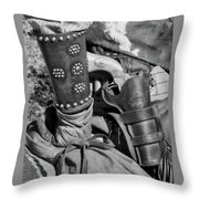 Cowboy And Six Shooter Bw Throw Pillow