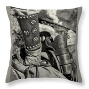 Cowboy And Six Shooter Bw Sepia Throw Pillow