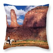 Cowboy And Three Sisters Throw Pillow