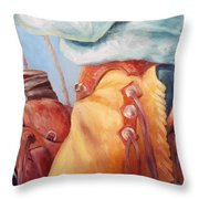 Cowboy Armor Western Cowboy Oil Painting Throw Pillow