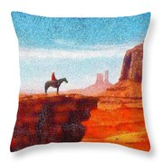 Cowboy At Monument Valley In Utah - Da Throw Pillow