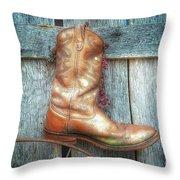 Cowboy Boot Rack Throw Pillow