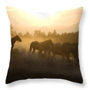 Cowboy Chasing Horses Throw Pillow