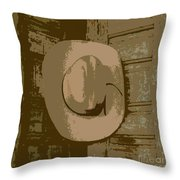 Cowboy Hangs It Up Square Format 1 Throw Pillow