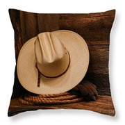 Cowboy Hat And Gear Throw Pillow