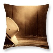 Cowboy Hat In The Old Barn Throw Pillow
