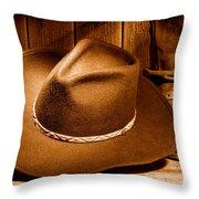 Cowboy Hat - Sepia Throw Pillow