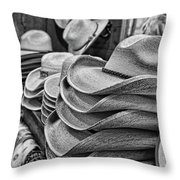 Cowboy Hats Black And White Throw Pillow