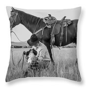 Cowboy, His Horse And Dog Throw Pillow