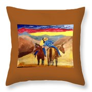 Cowboy Kisses Cowgirl Throw Pillow