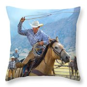 Cowboy Roping A Steer Throw Pillow
