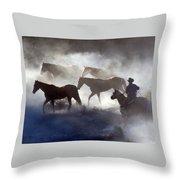 Cowboy Rounding Up Four Horses Throw Pillow