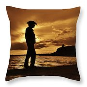 Cowboy Silhouette At Wilson Lake In Kansas Throw Pillow