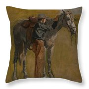 Cowboy - Study For Cowboys In The Badlands Throw Pillow