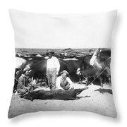 Cowboys Branding Cattle C. 1900 Throw Pillow