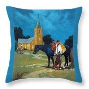 Cowboy's Prayer Throw Pillow