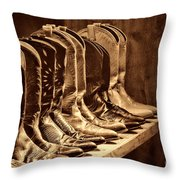 Cowgirl Boots Collection Throw Pillow