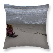 Cowgirl Day At Beach Throw Pillow