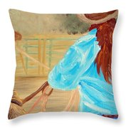 Cowgirl Roping Throw Pillow