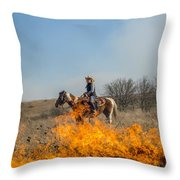 Cowgirl Watching Over Burn Throw Pillow