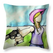 Cowgirl With Gun Throw Pillow