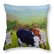 Cows And English Landscape Throw Pillow