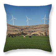 Cows And Windmills Throw Pillow