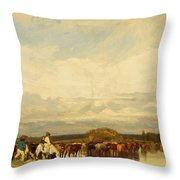Cows Crossing A Ford 1836 Throw Pillow