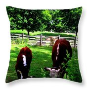 Cows Grazing Throw Pillow