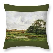 Cows In A Meadow Throw Pillow