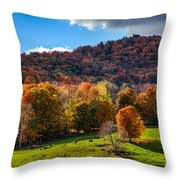 Cows In Pomfret Vermont Fall Foliage Throw Pillow