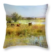 Cows In The Desert Throw Pillow
