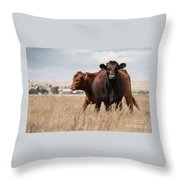 Cows In The Fall Pasture Throw Pillow