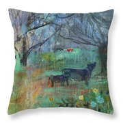 Cows In The Olive Grove Throw Pillow