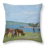 Cows On The Banks Of The Seine At Saint Mammes Throw Pillow