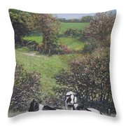 Cows Sitting By Hill Relaxing Throw Pillow